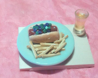 Miniature hotdog and French fries playscale barbie Blythe doll food