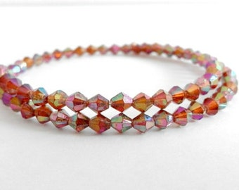 Memory Wire Wrap Beaded Bracelet with Tiny Multicoloured Diamond Beads