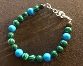 Malachite, Howlite (Dyed), and Tigers Eye Bracelet Healing Crystals FREE SHIPPING!