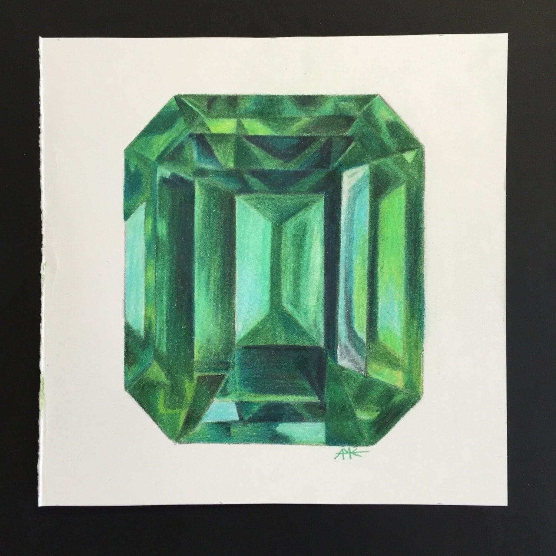 original emerald gem may birthstone colored pencil