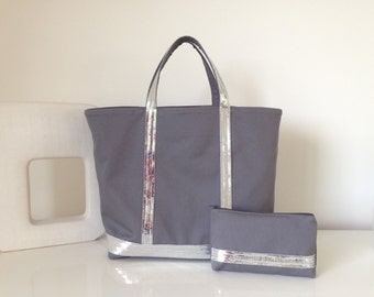 Glittery bag size M + grey anthracite/silver