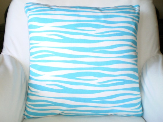 Aqua Stripe Pillow Covers Decorative Throw by PillowCushionCovers