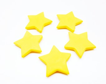 Set of 10 yellow stars beads, frosted acrylic, 27.5 * 5 mm
