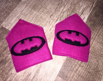 Hot Pink Bat Girl Arm Band Cuffs (cosplay, dress up, costume)