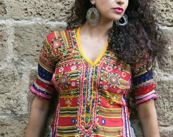 Hand made vintage one of a kind blouse /choli/indian clothind/tribal fusion belly dance/costume /ATS /hippie /bohemian top/embroidery /ethni