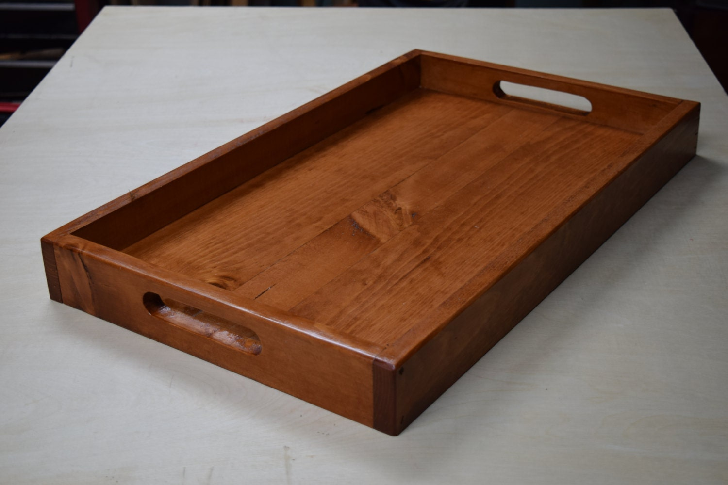 Wooden serving tray ottoman breakfast by bluelinegarage