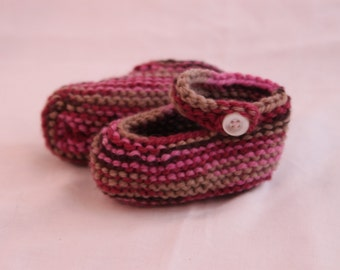 Hand Knit Mary Jane Baby Booties - Pink and Brown - Size 0-3 months