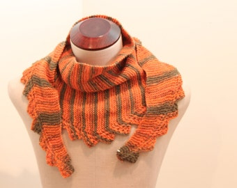 Hand Knitted Orange and Olive Green Triangle Scarf