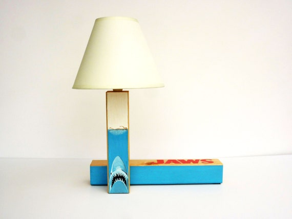Jaws unique handcrafted handpainted wooden table lamp gift - Unique handmade lamps ...