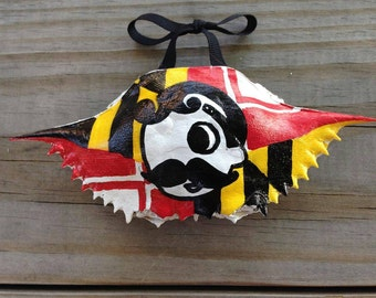 Crab Shell Ornament: Hand Painted Maryland Flag Natty Boh