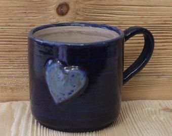 Rustic Coffee Cup- Unique Handmade Ceramic Mug in Cobalt Blue