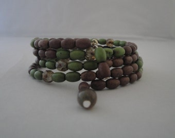 Green and Brown Memory Wire Wrap Around Bracelet