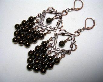 Brown Copper Chandelier Earrings Glass Dangle Earrings Metallic Copper Shoulder Dusters Antiqued Copper Chandelier Earrings Leverback Hooks