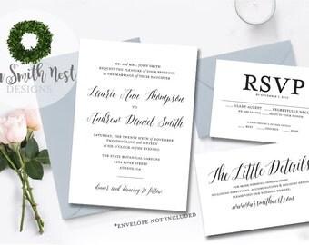 Classic Wedding Invitation Suite DIY PRINTABLE Customizable Digital Files Classic Simple Traditional