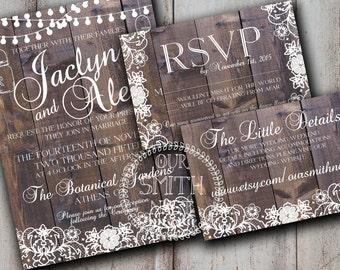 Rustic Lace Wedding Invitation DIY PRINTABLE Customizable Digital Prints Vintage Wood Lace Rustic Wedding Suite Fall Invitation