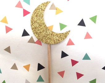 12 Sparkly Crescent Moon Cupcake Toppers