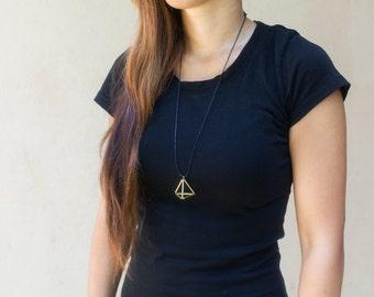 Brass Pyramid Necklace - brass tube Pendant - minimal design - cotton cord/ geometric pendant necklace / minimalistic necklace / brass tubes