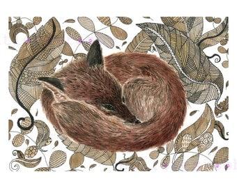 Fox giclee print/A3 Fox Giclee print/ fox ink drawing