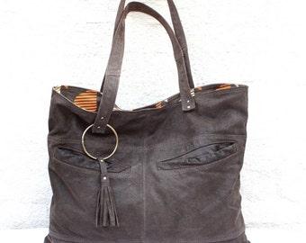 Handmade Large Leather Bag, Hobo Bag, Recycled Leather Bag, Leather Bag, Leather Tote, Leather Handbag, Reused Leather Bag, Hobo, Unique Bag