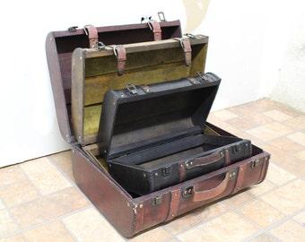 Set of 3 Vintage Luggage Style Trunks