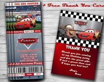 Disney Cars Birthday Invitation Tickets, ticket Style, Invite, Invites, Invitations, Boy, Girl, Disney Cars Printables, DIY Cards Prints