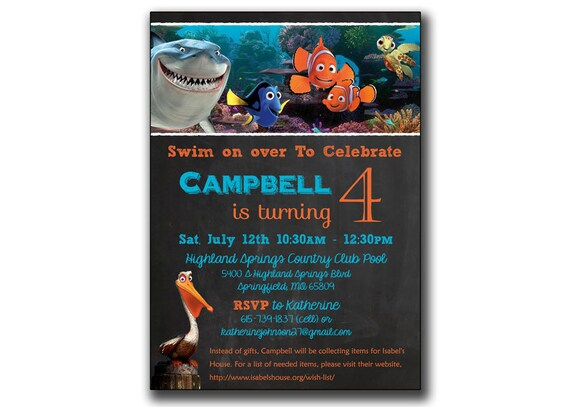 finding nemo invitation birthday party invites by printablestoyou