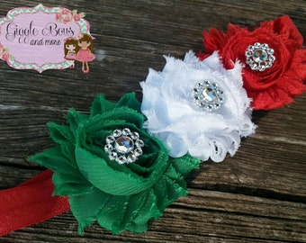 Mexican headband,Christmas headband, red headband, white baby headband, cinco de mayo headband, Christmas, folkloric headband, baby headband