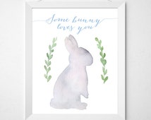 Some Bunny Loves You - 8 x 10 - Printable Wall Art - Instant Download - Gray Rabbit Woodland Nursery Decor - Blue Letters