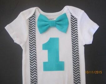 Boy navy blue chevron suspender outfit, Boy 1st birthday shirt, navy blue chevron shirt,turquoise  bow tie shirt, royal blue bow tie shirt