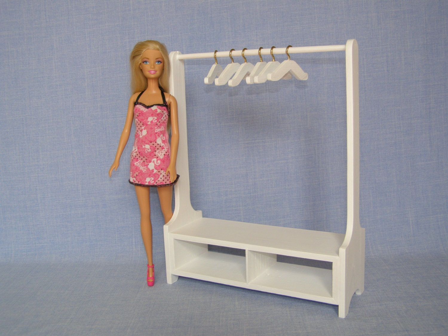 1 6 scale Doll Clothes Rack for 12 Inch doll Handmade Wood