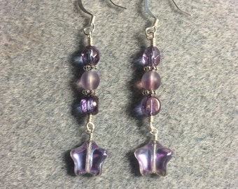 Violet metallic star bead dangle earrings adorned with violet Czech glass beads.