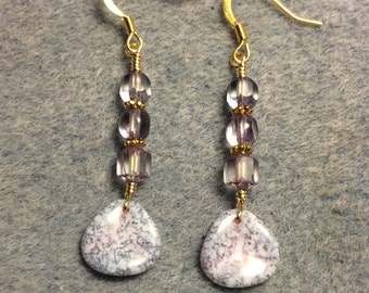 Light violet speckled Czech glass rose petal dangle earrings adorned with light violet Czech glass beads.