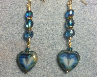 Blue green Picasso Czech glass heart bead dangle earrings adorned with blue green Czech glass beads.