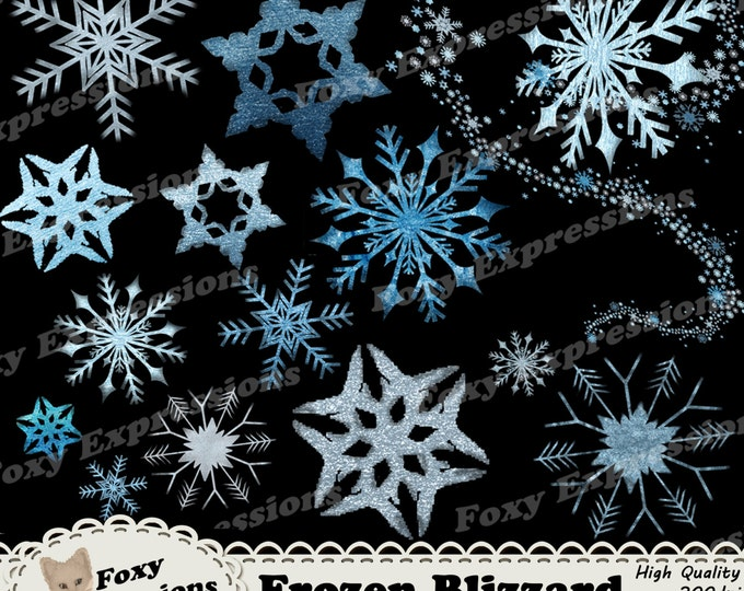 Frozen Blizzard Digital clip art pack gives you 15 dazzling icy blue & frosty white snowflakes and 1 snowy whirlwind. Sparkle up any project