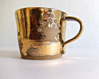 Ancient Queen Handmade Cup with 14k Gold Luster, Brown Clay with Floral Pattern, Modern, Contemporary, Rustic