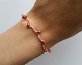 Pink Berry Crochet Bracelet