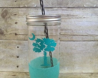 Aqua Palmetto Tree/Moon South Carolina Glitter Mason Jar Tumbler 24 oz - Ready To Ship