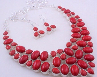 111 Gr. Coral Stone .925 Sterling Silver Handmade Jewelry Necklace (Jh-84)