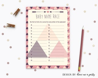Tribal Baby Name Race , Tribal Aztec Baby Shower Games , Printable Baby Name Race Card , Instant Download