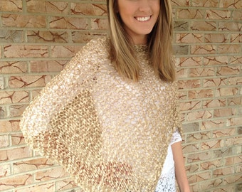 Boho poncho, Summer poncho, Womens poncho, Spring/summer wrap, Summer shawl, READY TO SHIP