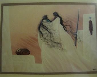 Native American Art Plaque by Bill Rabbit