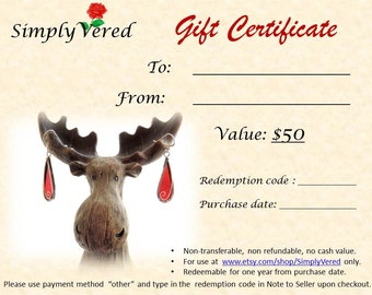 50 Dollars Gift Certificate at SimplyVered - colorful jewelry and houseware from silver and glass