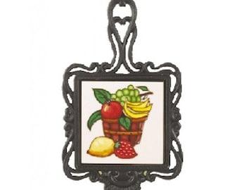 Square Trivet C/W Bowl Of Fruit