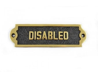 """Solid Brass """"Disabled"""" Bathroom Sign"""