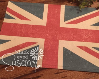 """Union Jack Placemat of Natural Burlap or Canvas   Fully Lined w/ Cotton Canvas Backing   11"""" x 16"""""""