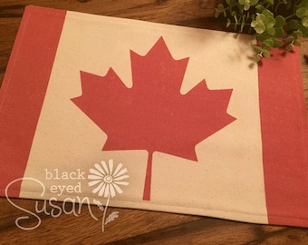 """Canadian Flag Placemat of Natural Burlap or Canvas 