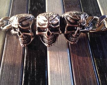 Skull bracelet handmade steel