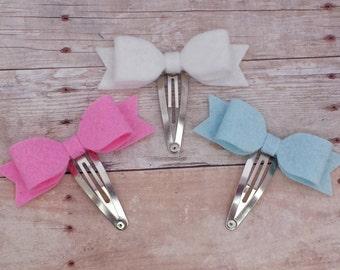 CHOOSE ANY THREE / 30+ Colors - Mini Wool Felt Hair Bow Clip Set / Felt Hair Bow Snap Clip / Felt Bow Clip Set / Mini Felt Bow Snap Clip