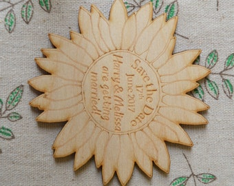 Sunflower Shaped Personalised Engraved Wooden SAVE THE DATE Fridge Magnets
