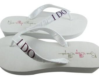 Bride Flip Flops, Wedding Flip Flops, Bridal I DO in purple glitter  - or choose bling color- all sizes- all heel heights- white/ivory